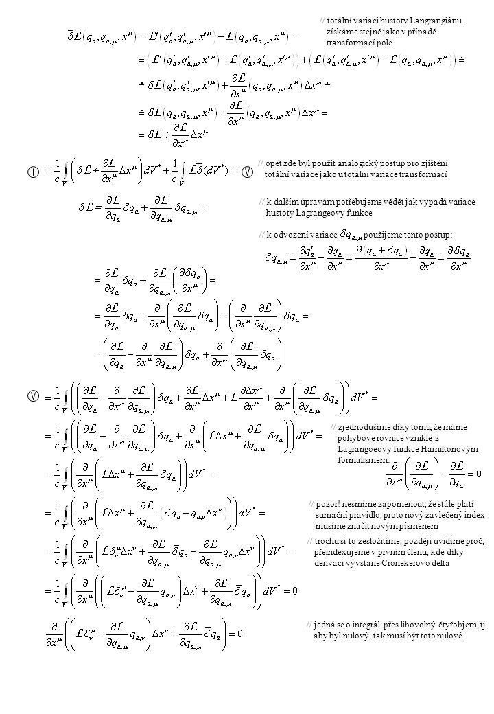 // totální variaci hustoty Langrangiánu