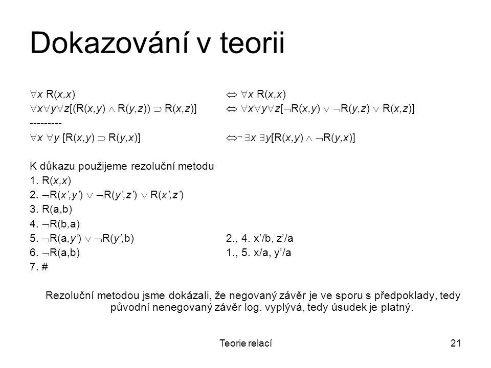 Dokazování v teorii x R(x,x)  x R(x,x)