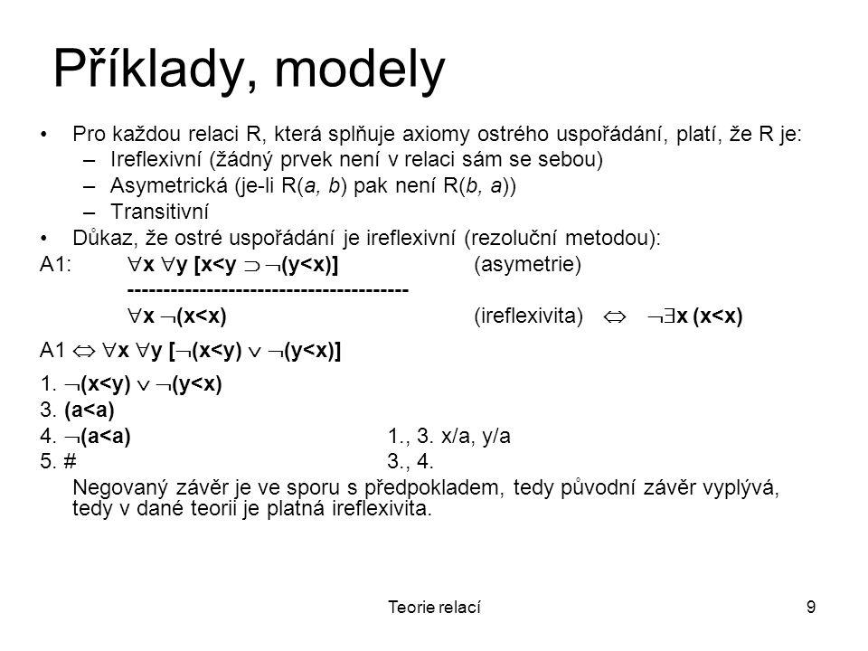 Příklady, modely Pro každou relaci R, která splňuje axiomy ostrého uspořádání, platí, že R je: Ireflexivní (žádný prvek není v relaci sám se sebou)