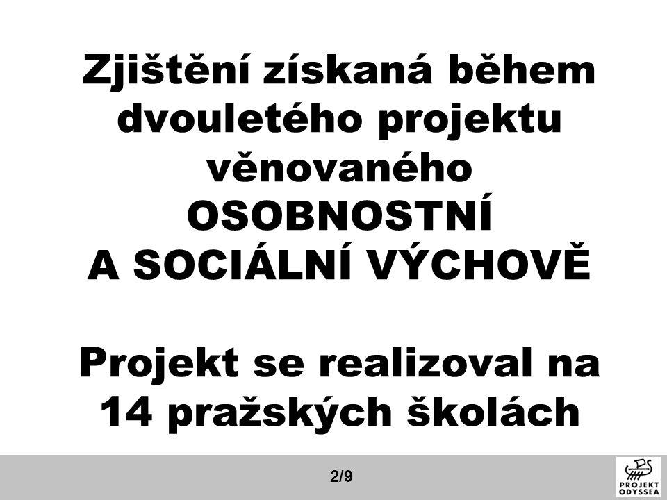 Zjištění získaná během dvouletého projektu věnovaného OSOBNOSTNÍ A SOCIÁLNÍ VÝCHOVĚ Projekt se realizoval na 14 pražských školách