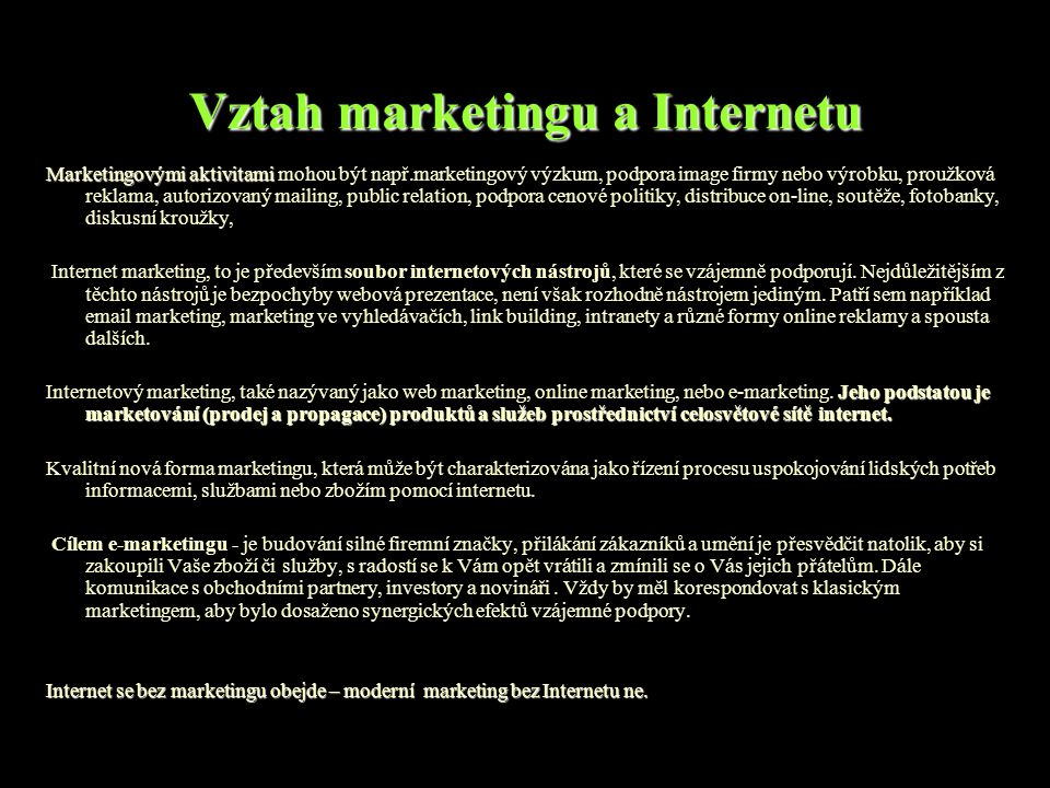 Vztah marketingu a Internetu