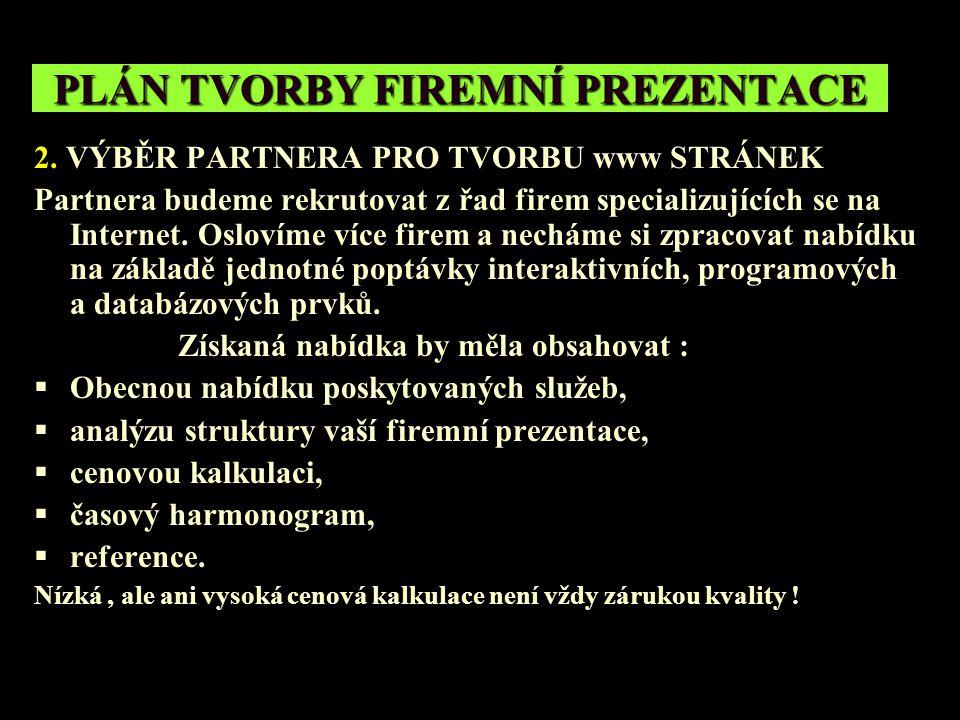 PLÁN TVORBY FIREMNÍ PREZENTACE