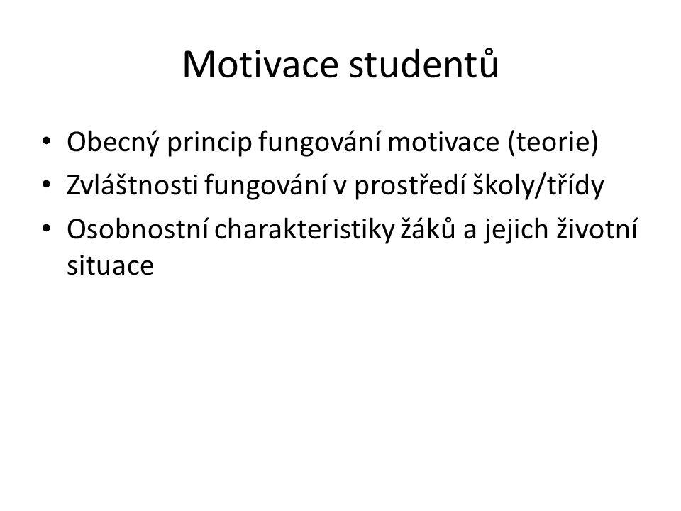 Motivace studentů Obecný princip fungování motivace (teorie)
