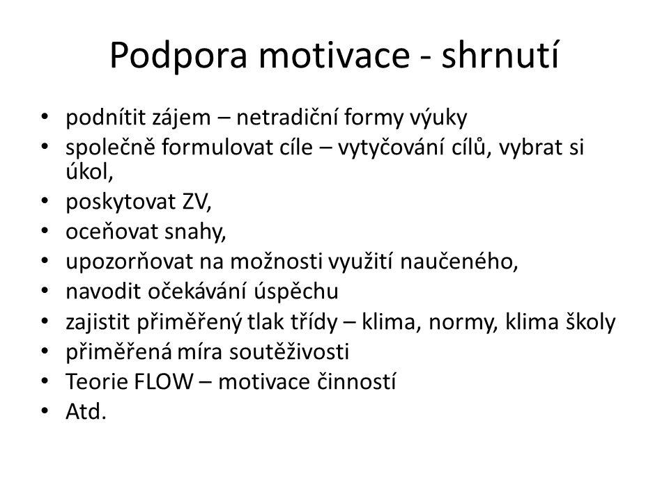 Podpora motivace - shrnutí
