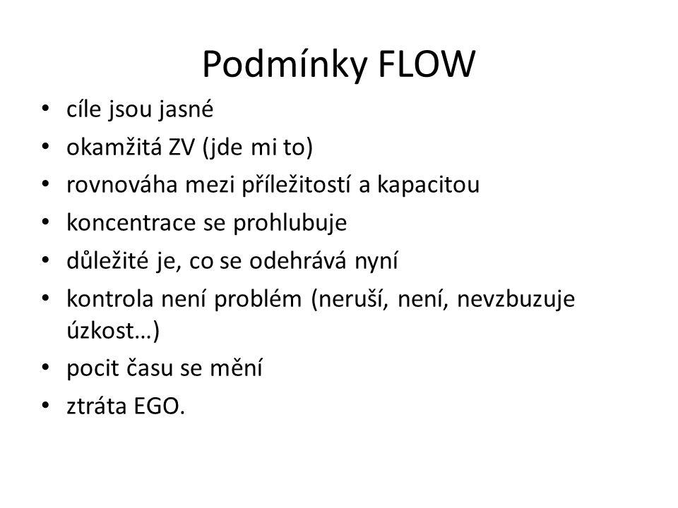 Podmínky FLOW cíle jsou jasné okamžitá ZV (jde mi to)