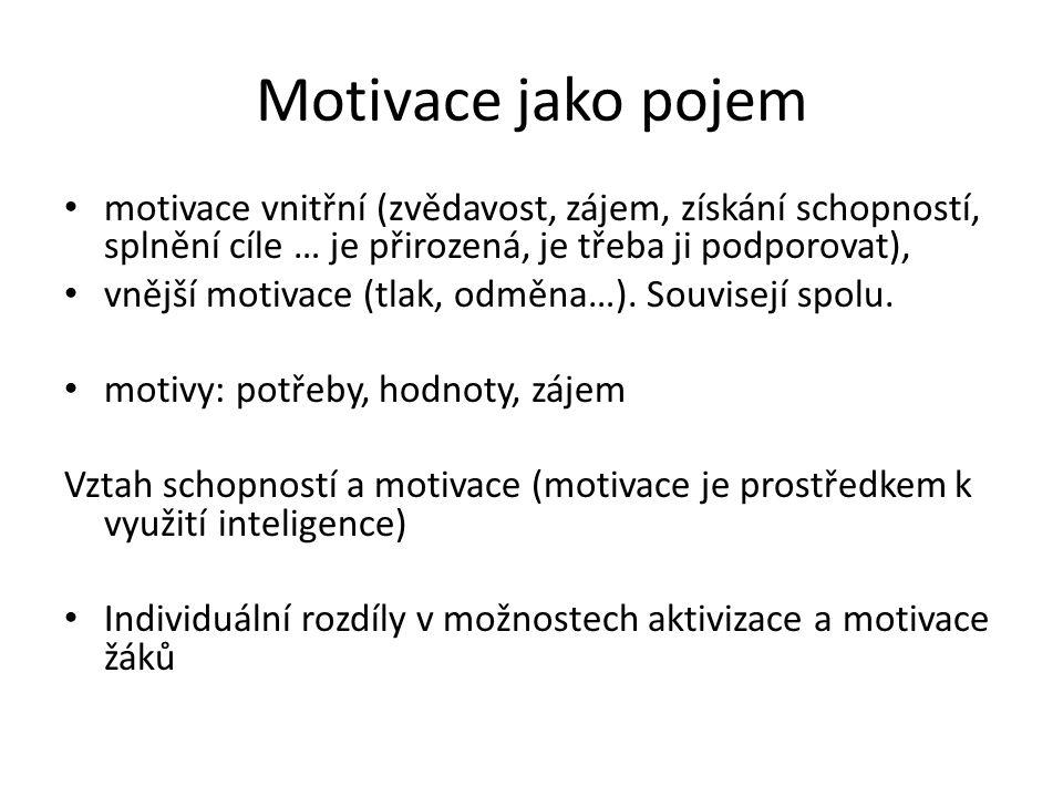 Motivace jako pojem motivace vnitřní (zvědavost, zájem, získání schopností, splnění cíle … je přirozená, je třeba ji podporovat),