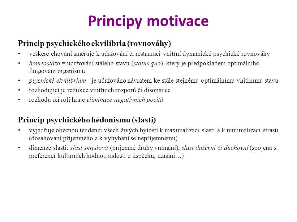 Principy motivace Princip psychického ekvilibria (rovnováhy)