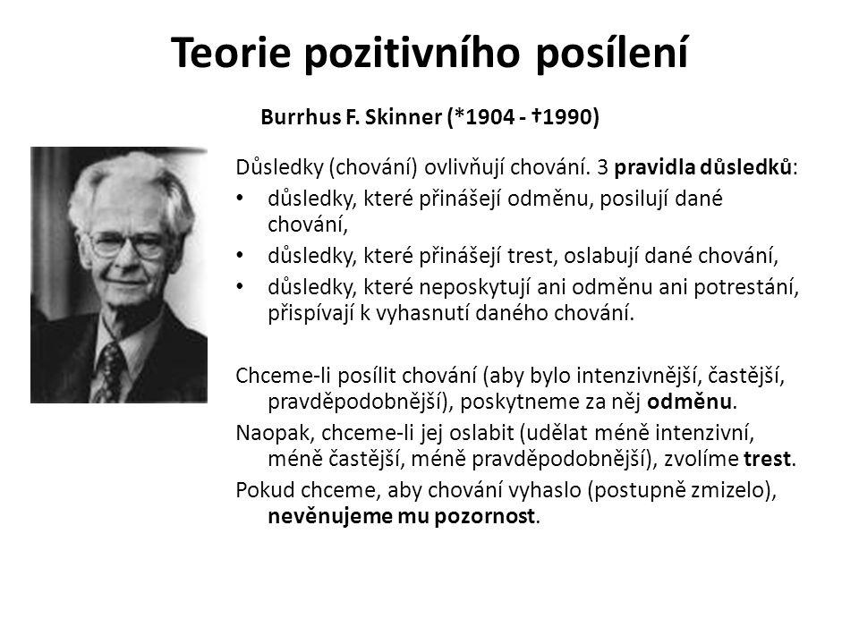 Teorie pozitivního posílení Burrhus F. Skinner (*1904 - †1990)
