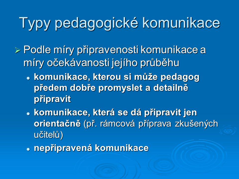 Typy pedagogické komunikace