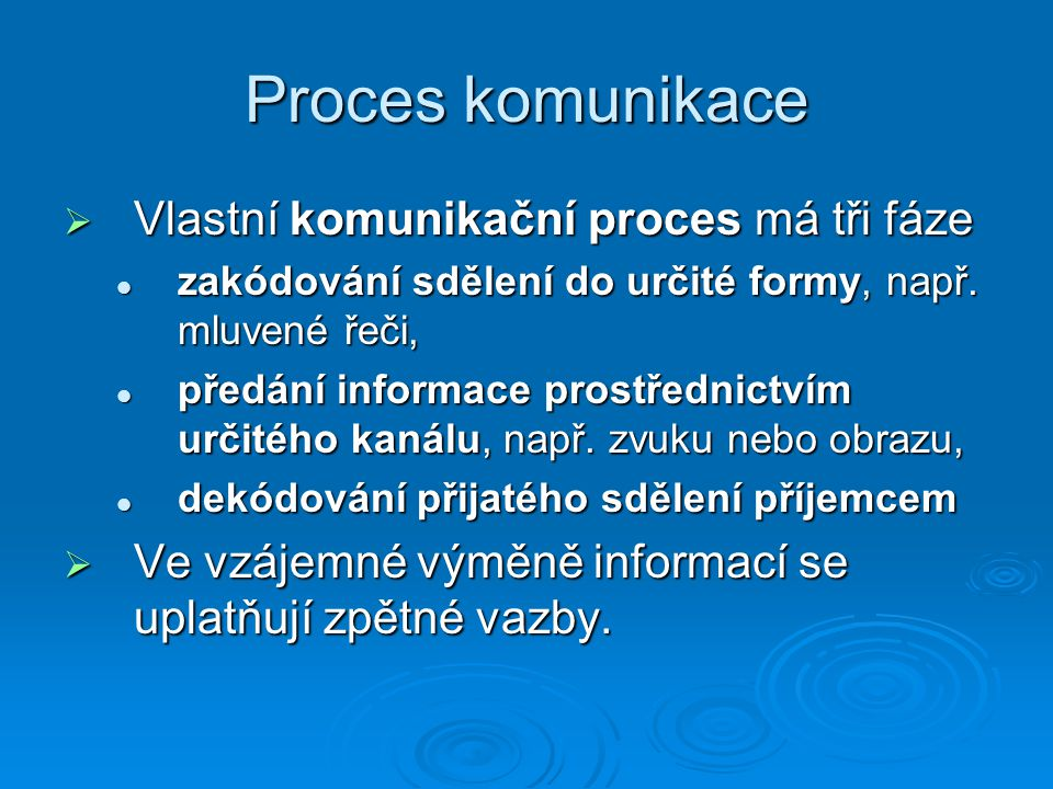 Proces komunikace Vlastní komunikační proces má tři fáze