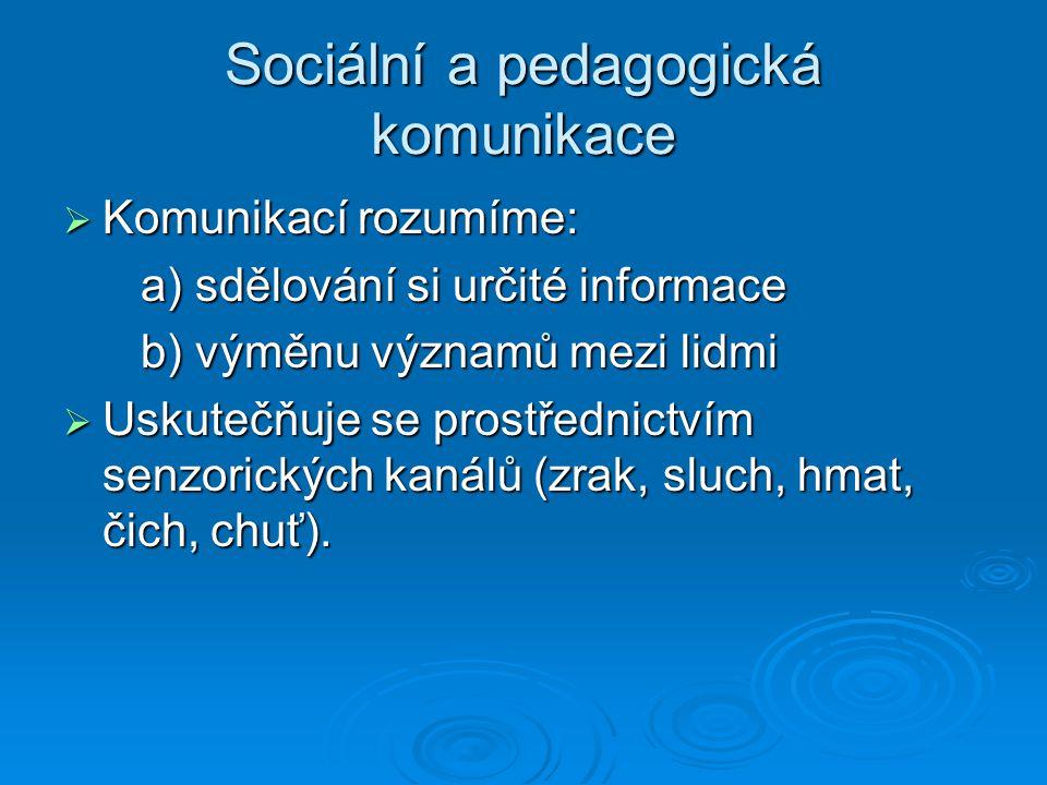 Sociální a pedagogická komunikace