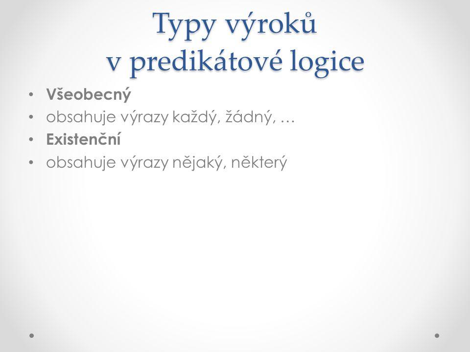 Typy výroků v predikátové logice