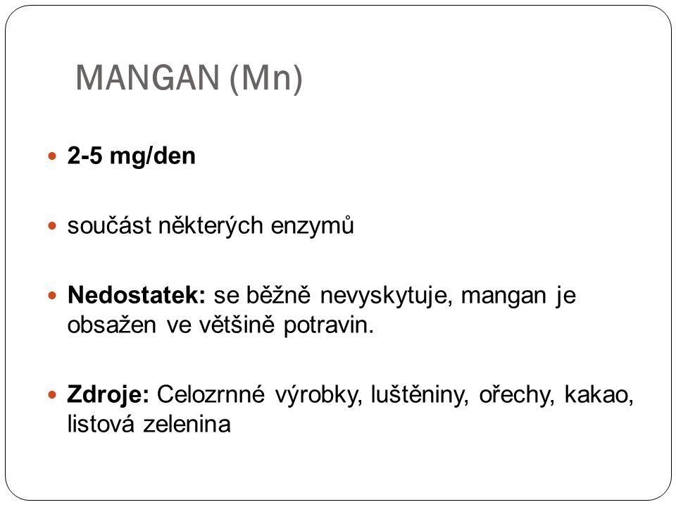 MANGAN (Mn) 2-5 mg/den součást některých enzymů
