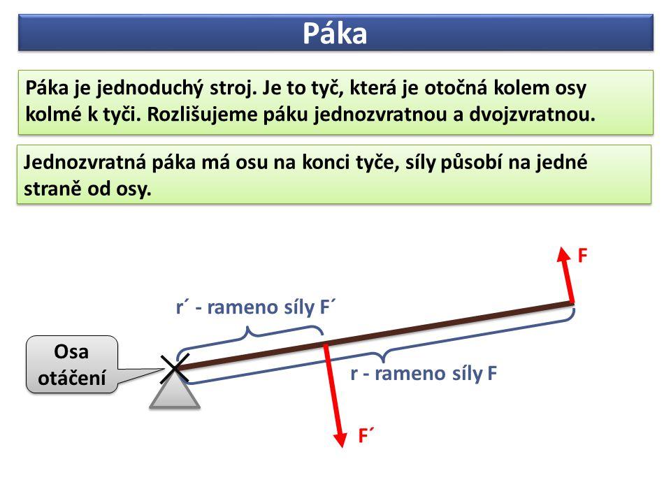 Páka Páka je jednoduchý stroj. Je to tyč, která je otočná kolem osy kolmé k tyči. Rozlišujeme páku jednozvratnou a dvojzvratnou.