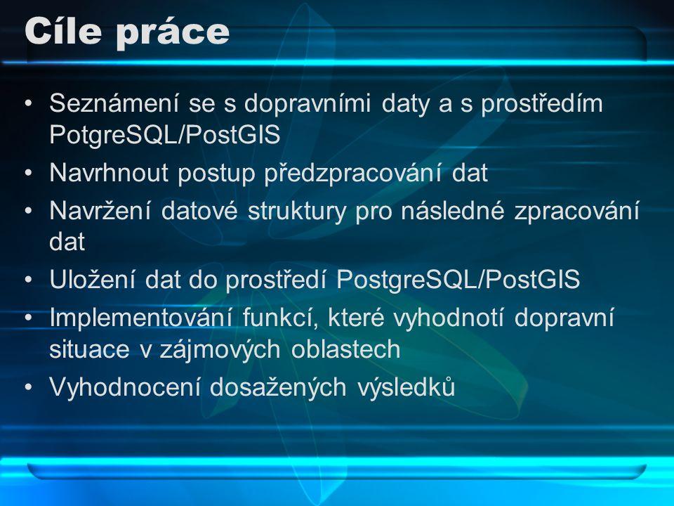 Cíle práce Seznámení se s dopravními daty a s prostředím PotgreSQL/PostGIS. Navrhnout postup předzpracování dat.
