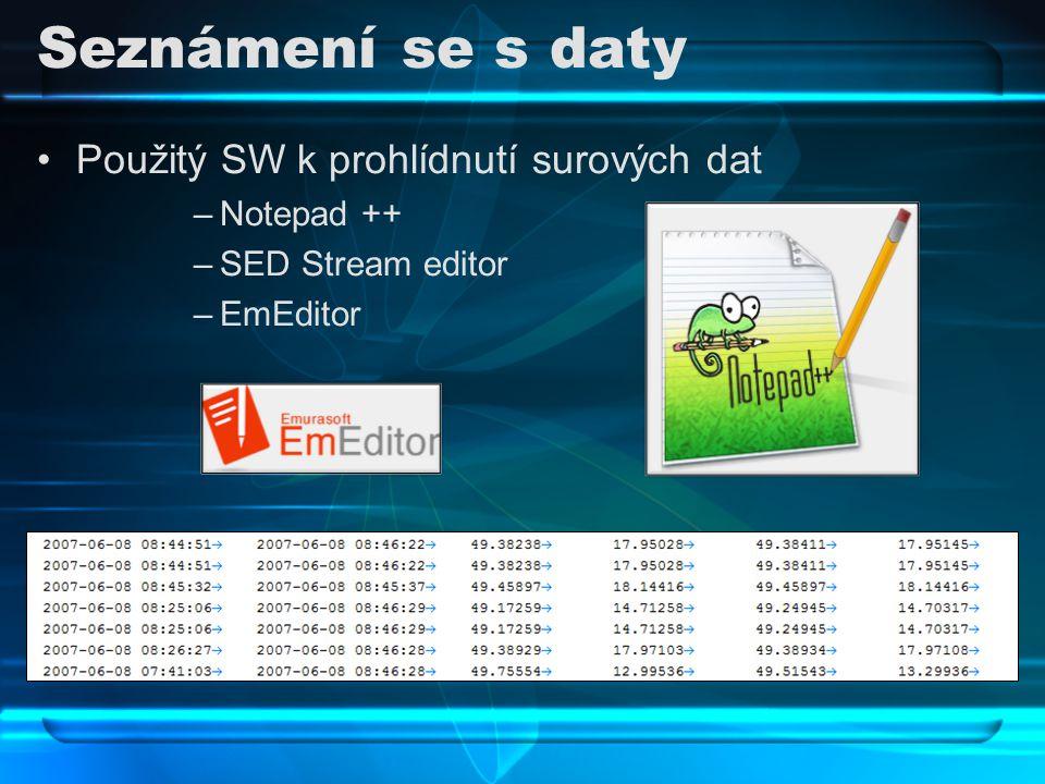 Seznámení se s daty Použitý SW k prohlídnutí surových dat Notepad ++