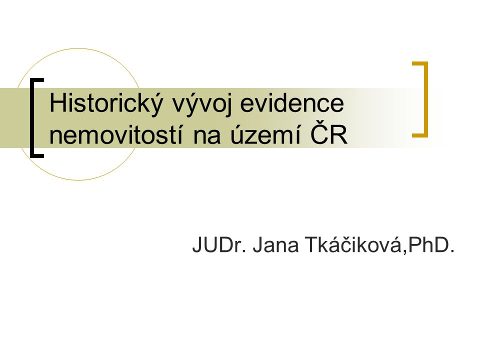 Historický vývoj evidence nemovitostí na území ČR