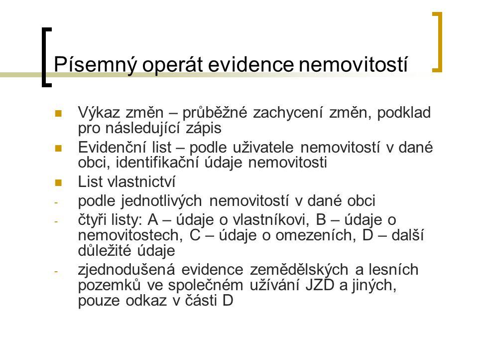 Písemný operát evidence nemovitostí
