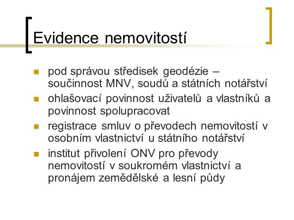 Evidence nemovitostí pod správou středisek geodézie – součinnost MNV, soudů a státních notářství.
