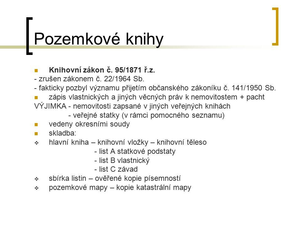 Pozemkové knihy Knihovní zákon č. 95/1871 ř.z.