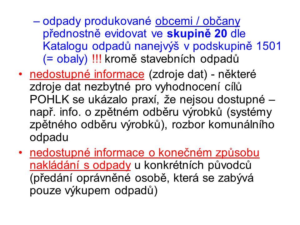 odpady produkované obcemi / občany přednostně evidovat ve skupině 20 dle Katalogu odpadů nanejvýš v podskupině 1501 (= obaly) !!! kromě stavebních odpadů