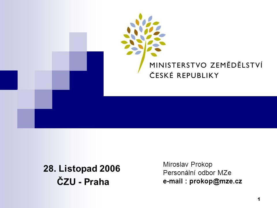 28. Listopad 2006 ČZU - Praha Miroslav Prokop Personální odbor MZe