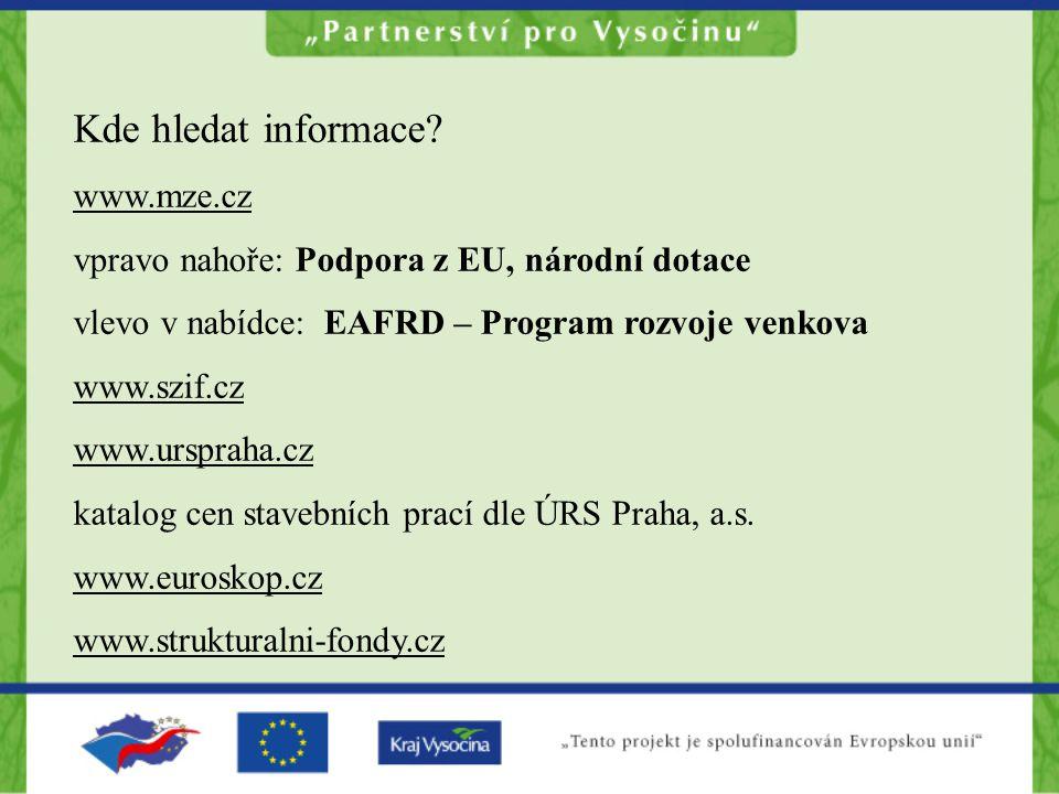 Kde hledat informace www.mze.cz