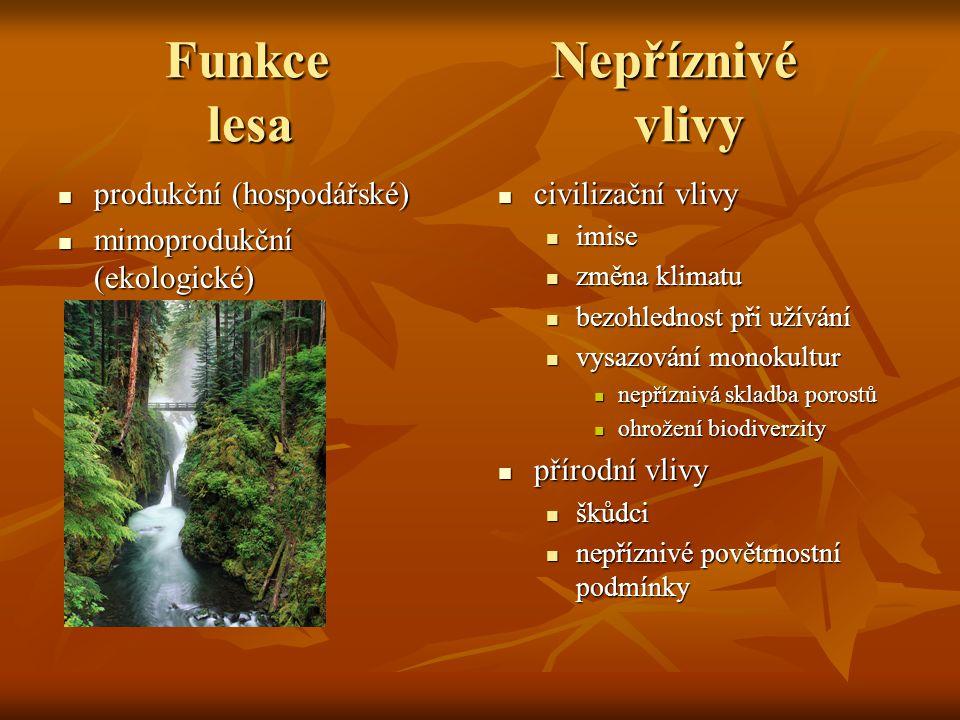 Funkce Nepříznivé lesa vlivy
