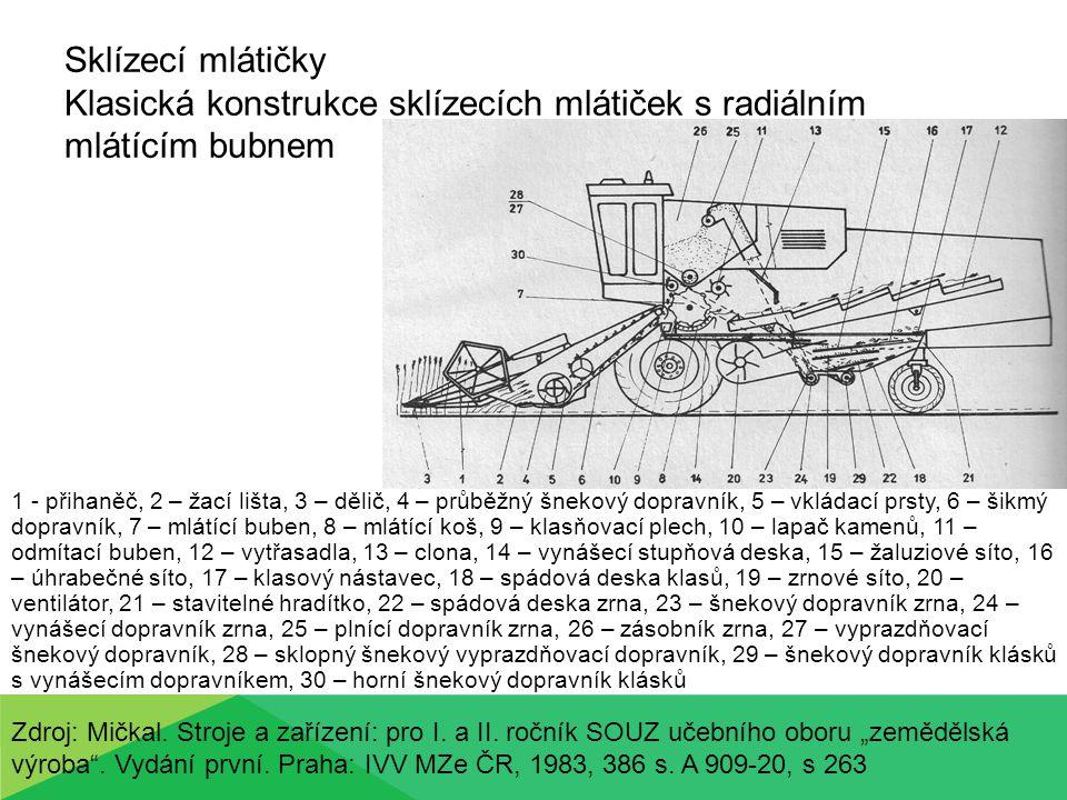 Sklízecí mlátičky Klasická konstrukce sklízecích mlátiček s radiálním mlátícím bubnem