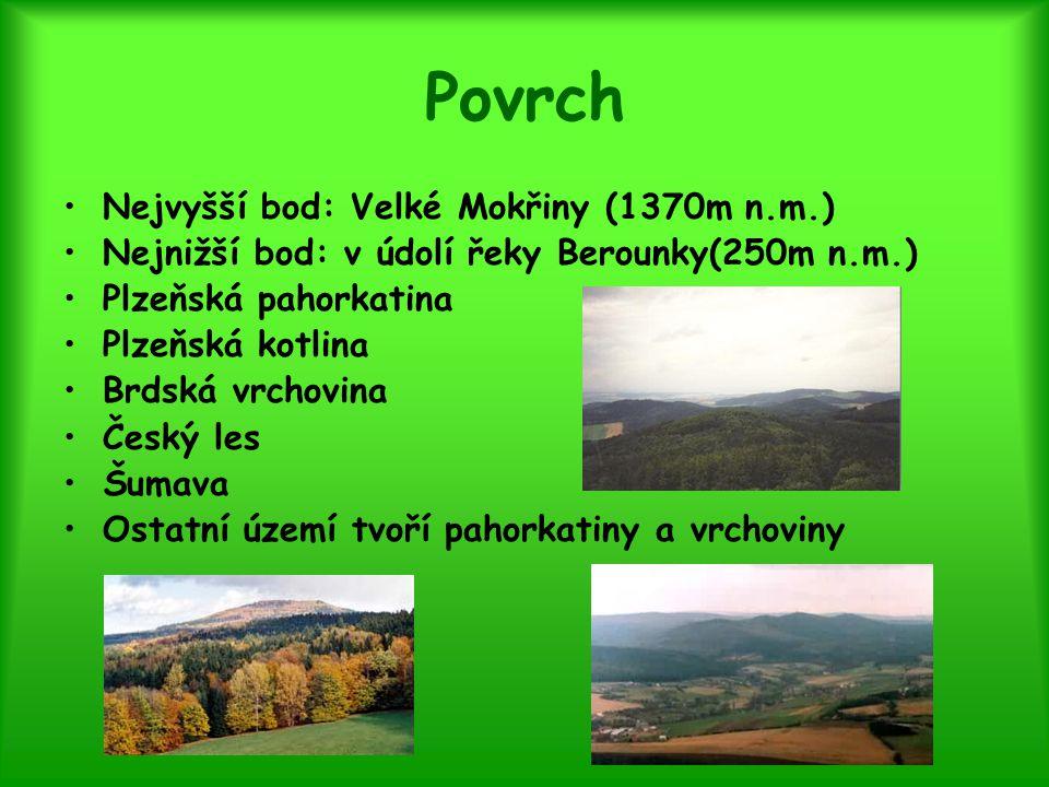 Povrch Nejvyšší bod: Velké Mokřiny (1370m n.m.)