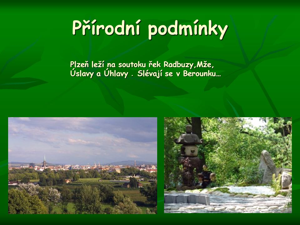 Přírodní podmínky Plzeň leží na soutoku řek Radbuzy,Mže, Úslavy a Úhlavy . Slévají se v Berounku…