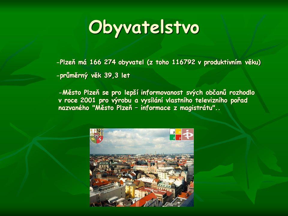 Obyvatelstvo -Plzeň má 166 274 obyvatel (z toho 116792 v produktivním věku) -průměrný věk 39,3 let.
