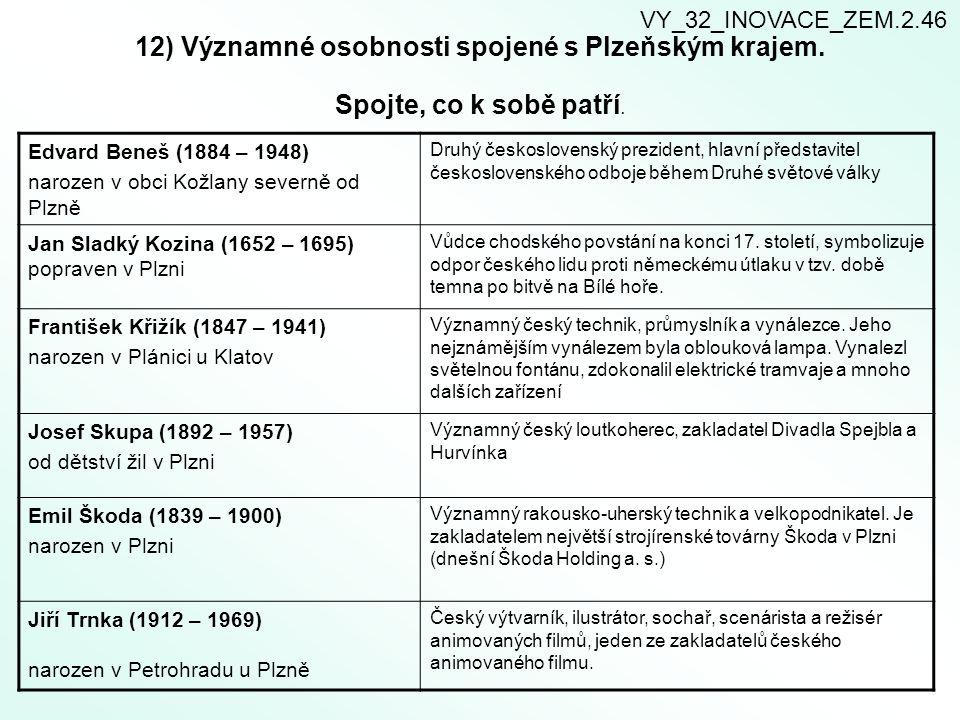 VY_32_INOVACE_ZEM.2.46 12) Významné osobnosti spojené s Plzeňským krajem. Spojte, co k sobě patří.