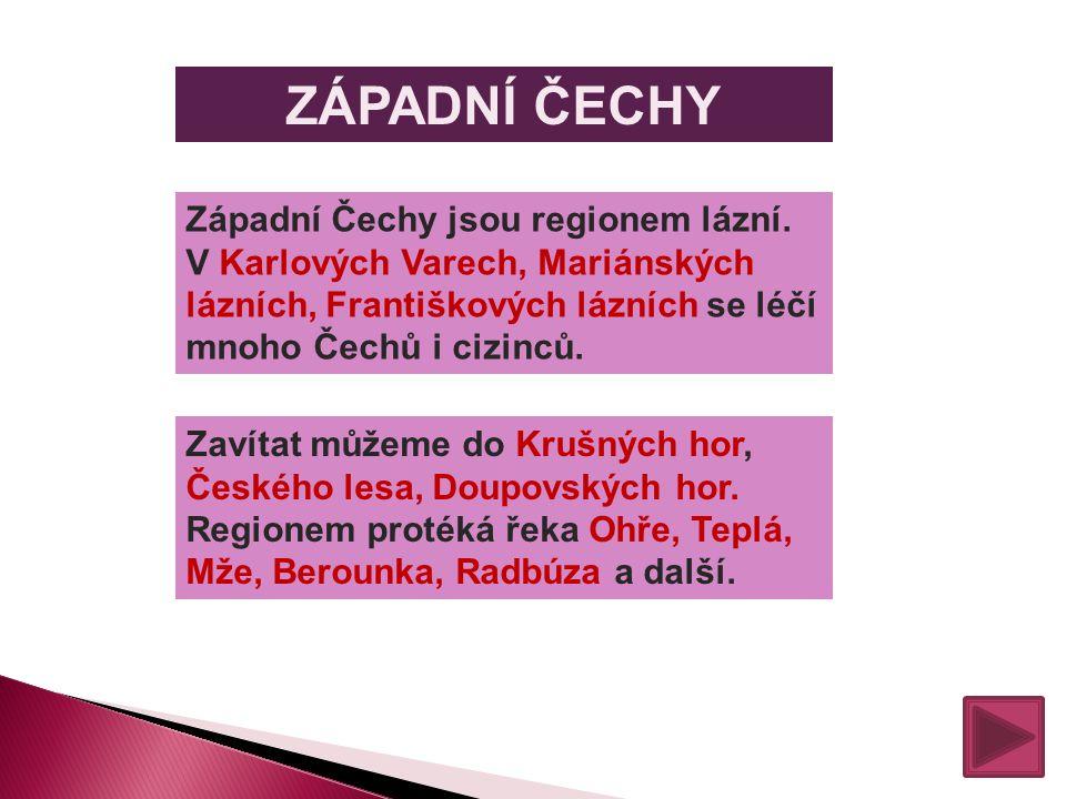 ZÁPADNÍ ČECHY Západní Čechy jsou regionem lázní. V Karlových Varech, Mariánských lázních, Františkových lázních se léčí mnoho Čechů i cizinců.