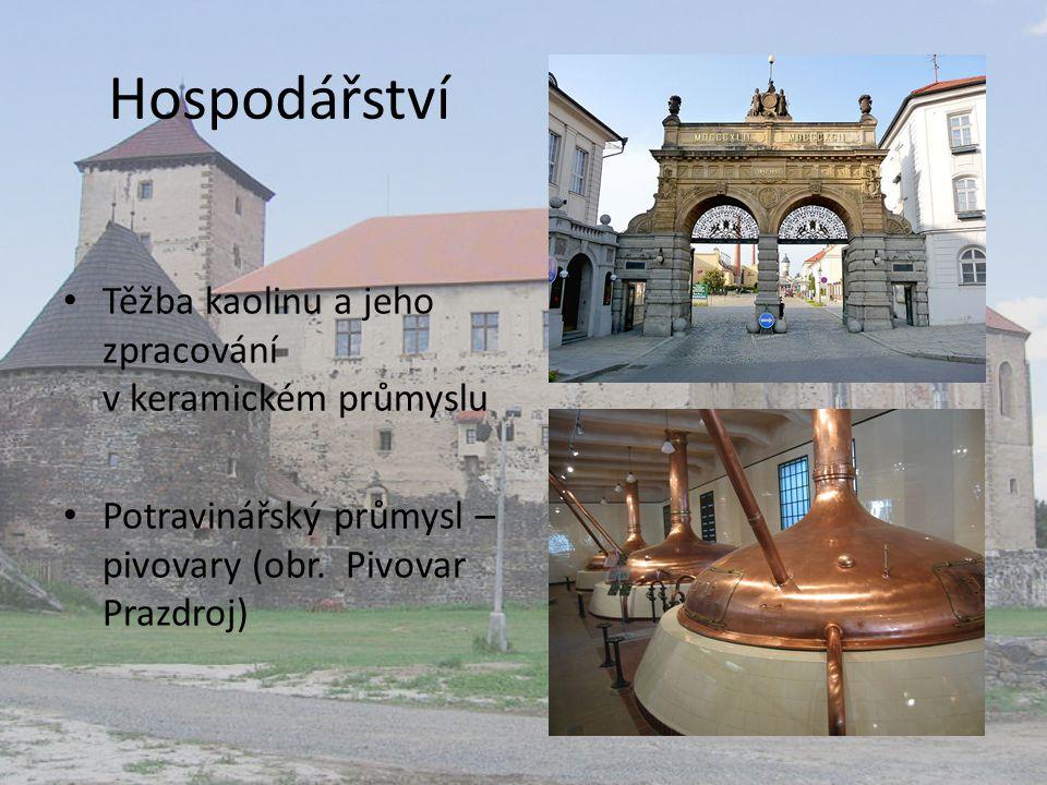 Hospodářství Těžba kaolinu a jeho zpracování v keramickém průmyslu