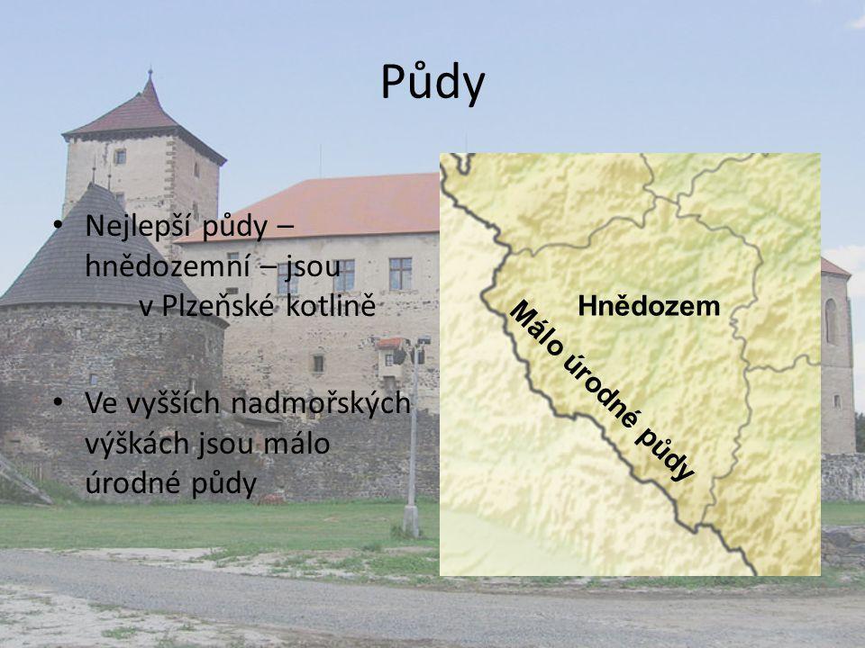 Půdy Nejlepší půdy – hnědozemní – jsou v Plzeňské kotlině