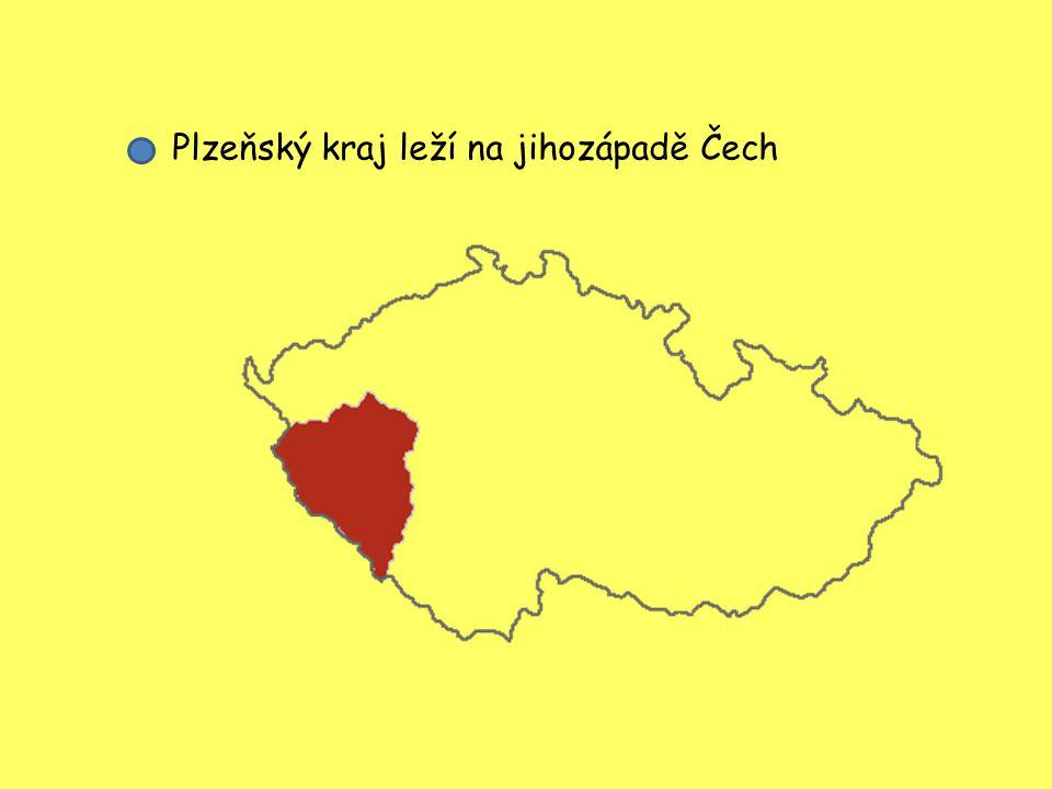 Plzeňský kraj leží na jihozápadě Čech