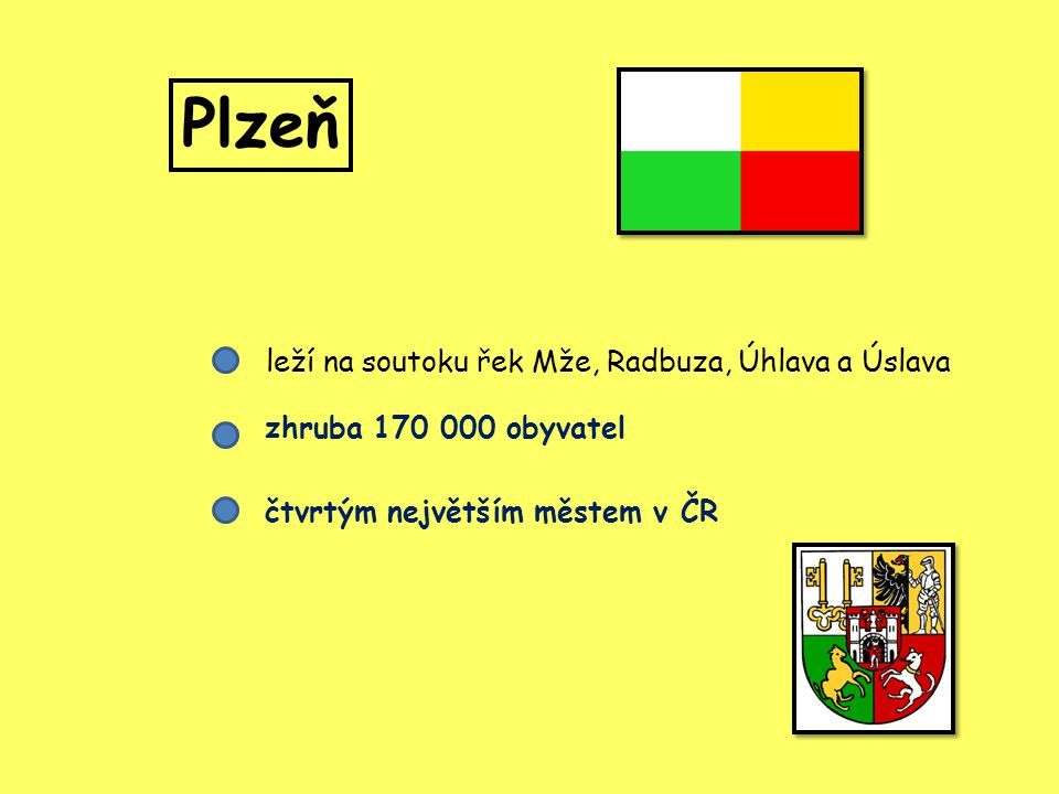Plzeň leží na soutoku řek Mže, Radbuza, Úhlava a Úslava