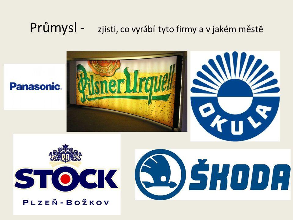 Průmysl - zjisti, co vyrábí tyto firmy a v jakém městě