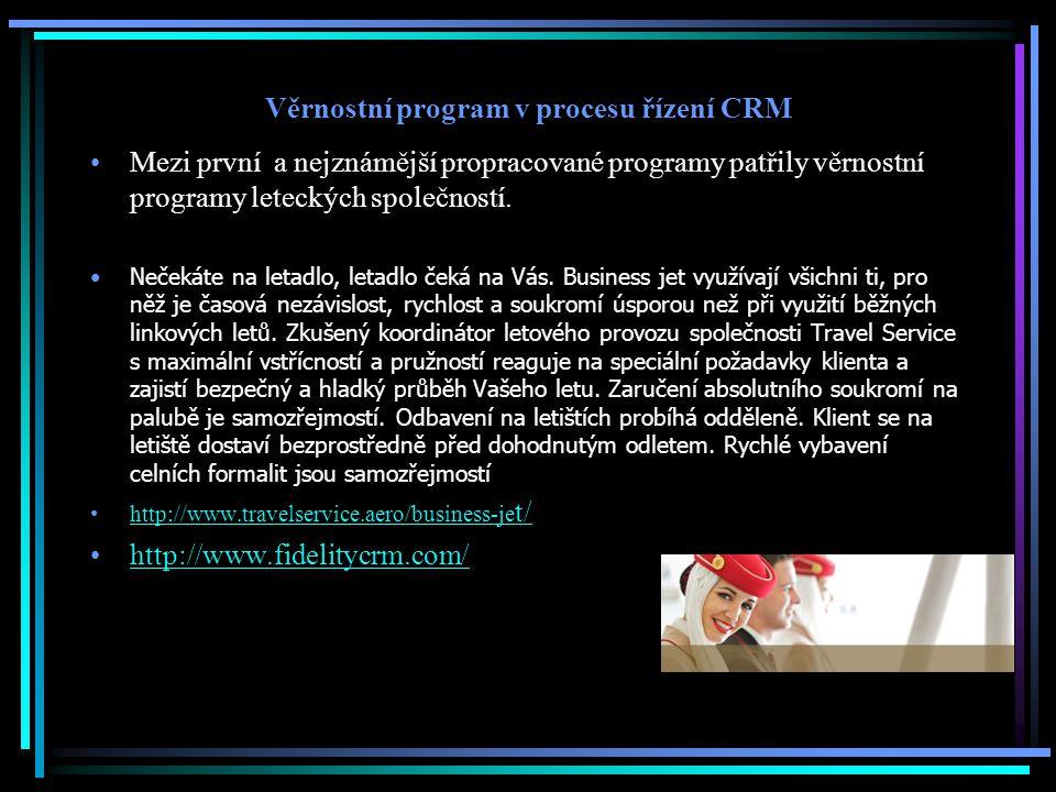 Věrnostní program v procesu řízení CRM