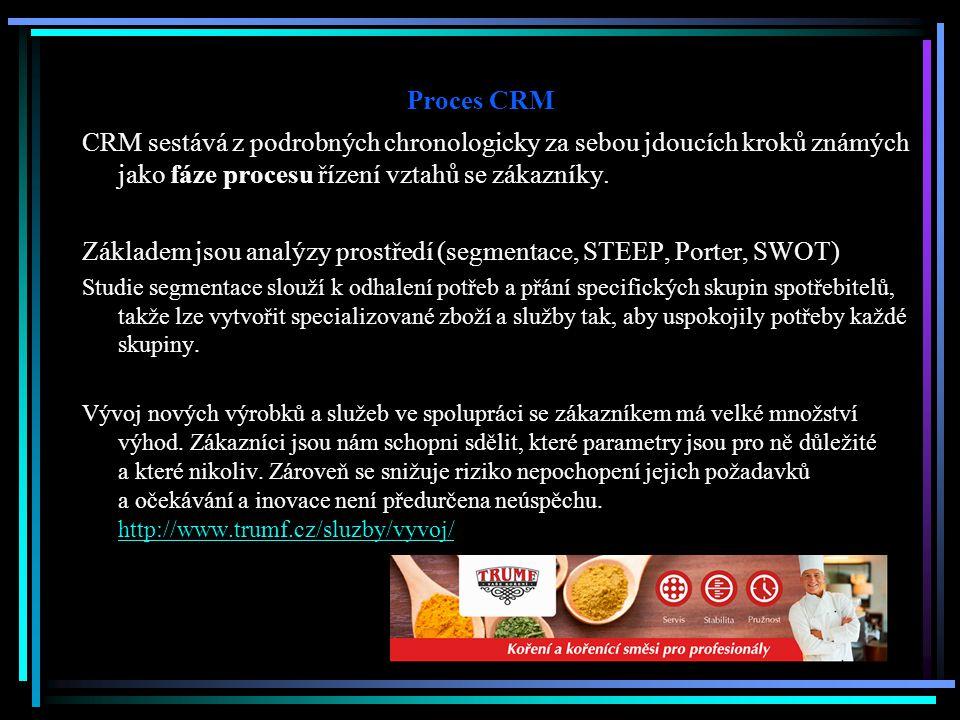 Základem jsou analýzy prostředí (segmentace, STEEP, Porter, SWOT)