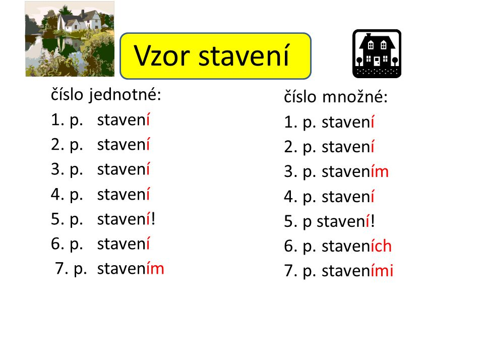 Vzor stavení číslo jednotné: číslo množné: 1. p. stavení 1. p. stavení