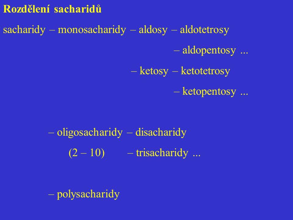 Rozdělení sacharidů sacharidy – monosacharidy – aldosy – aldotetrosy. – aldopentosy ... – ketosy – ketotetrosy.