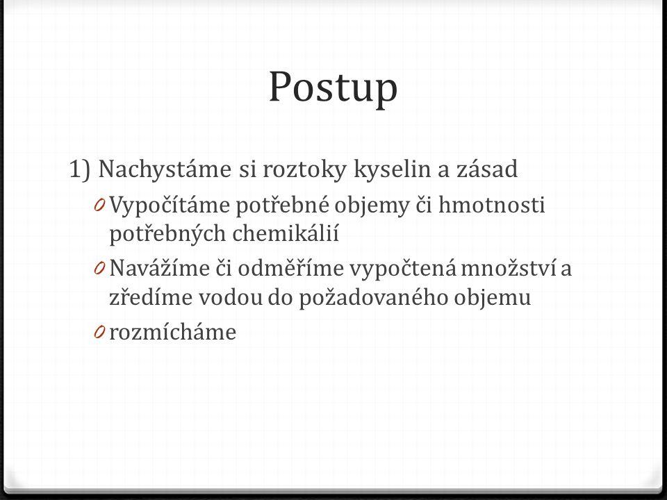 Postup 1) Nachystáme si roztoky kyselin a zásad