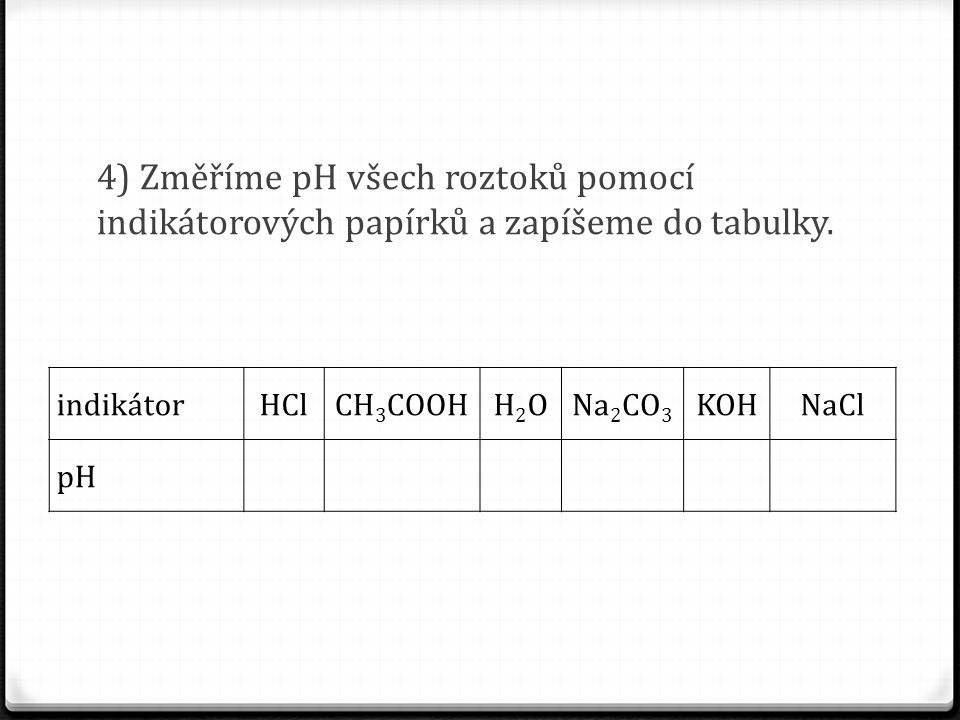 4) Změříme pH všech roztoků pomocí indikátorových papírků a zapíšeme do tabulky.