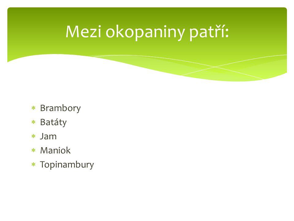 Mezi okopaniny patří: Brambory Batáty Jam Maniok Topinambury