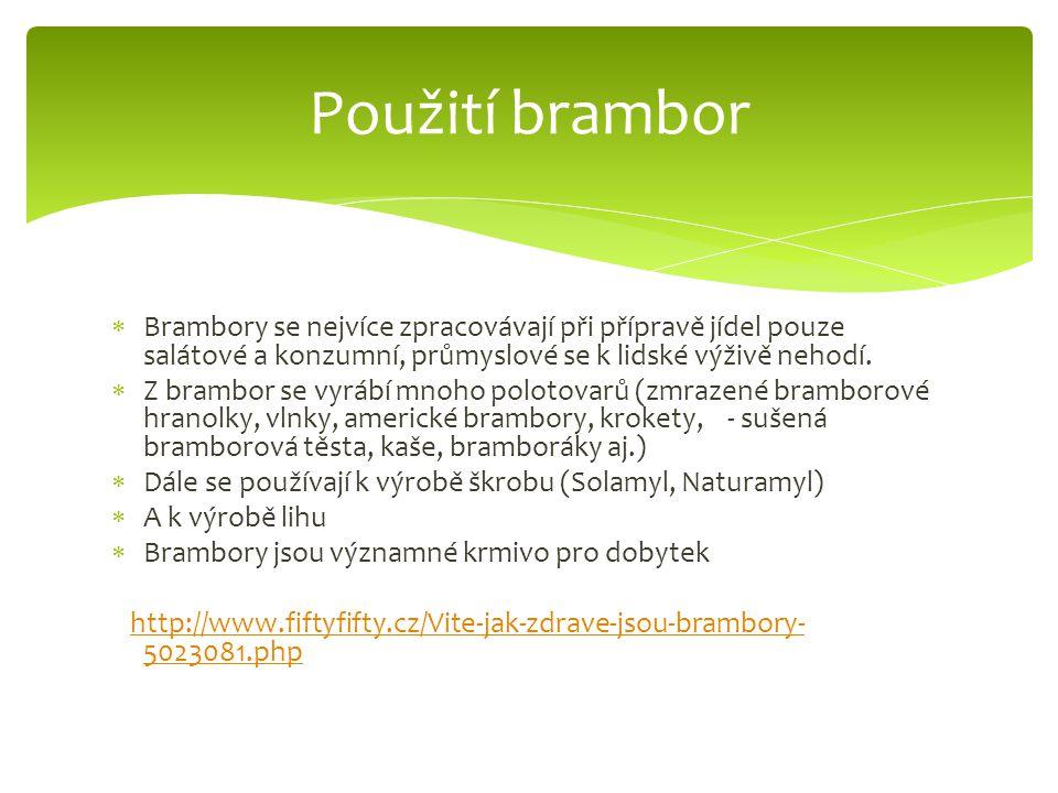 Použití brambor Brambory se nejvíce zpracovávají při přípravě jídel pouze salátové a konzumní, průmyslové se k lidské výživě nehodí.