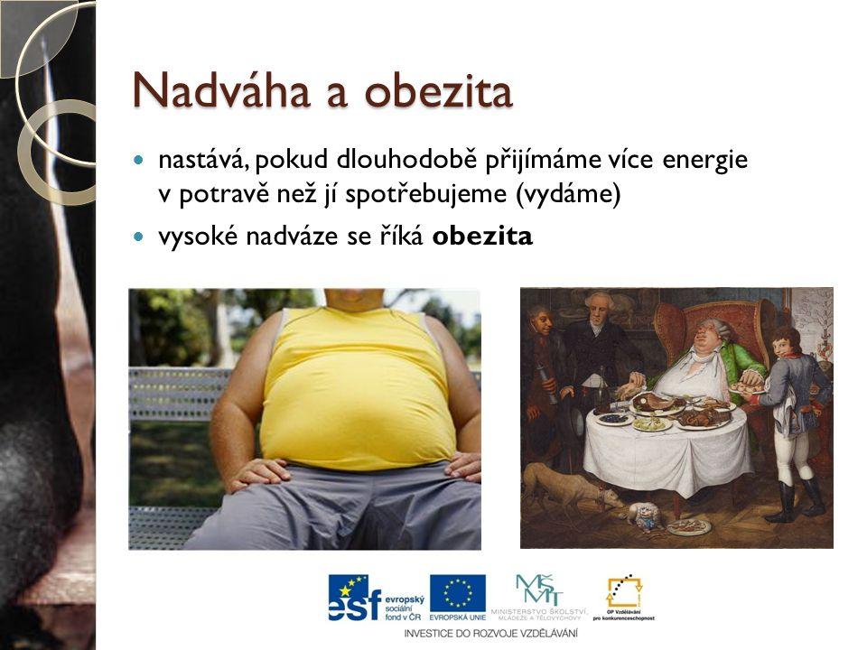 Nadváha a obezita nastává, pokud dlouhodobě přijímáme více energie v potravě než jí spotřebujeme (vydáme)