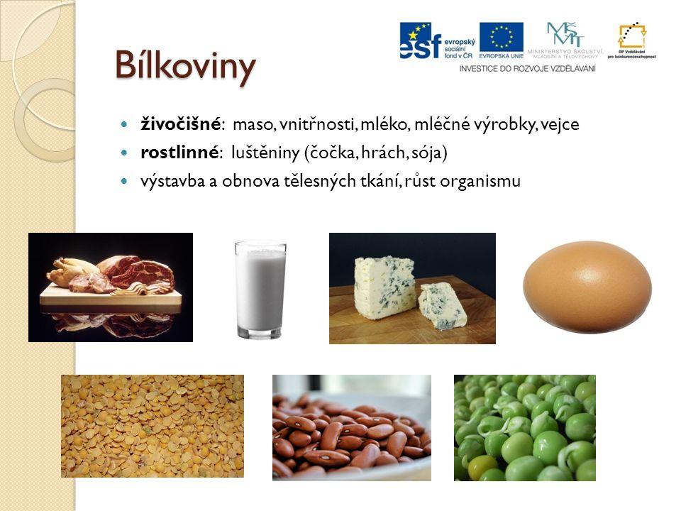 Bílkoviny živočišné: maso, vnitřnosti, mléko, mléčné výrobky, vejce