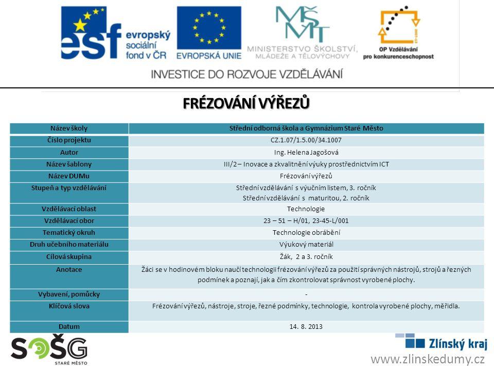 FRÉZOVÁNÍ VÝŘEZŮ www.zlinskedumy.cz Název školy